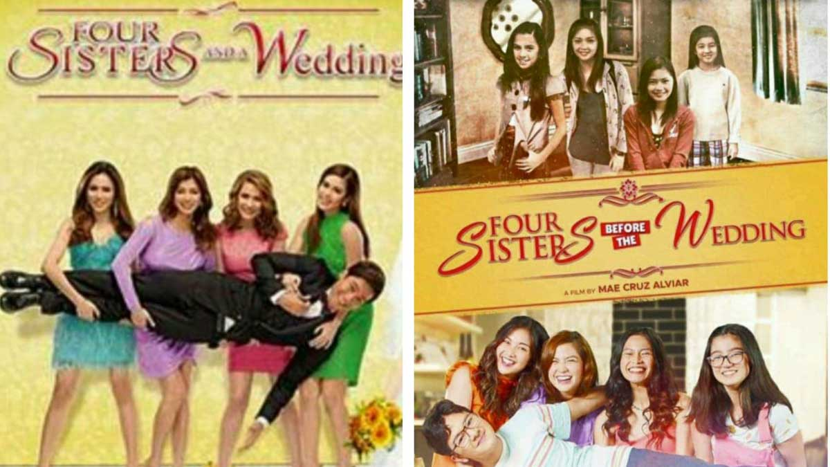 Left: Four sisters and a wedding. Right: Four sisters before the wedding.