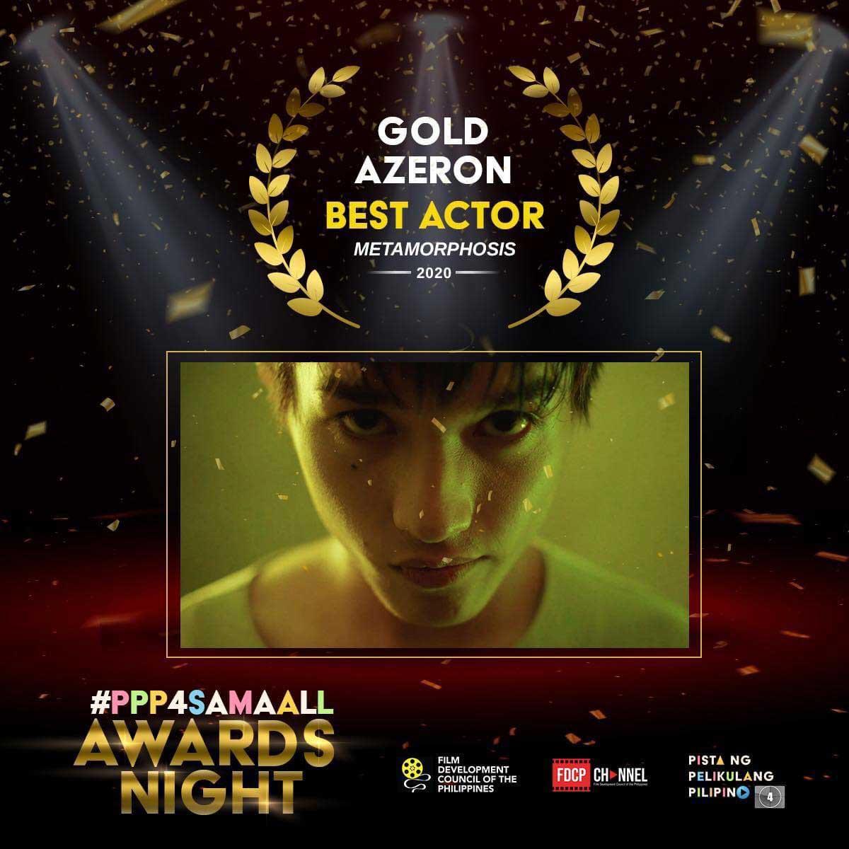 Gold Azeron wins Best Actor award at the 4th Pista ng Pelikulang Pilipino awards.