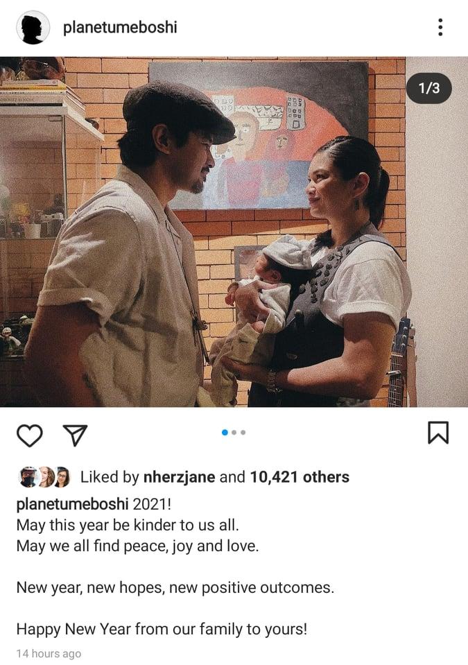Joem Bascon instagram post with Meryll Soriano and newborn baby