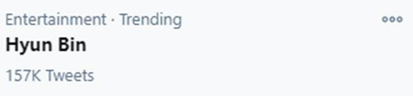 Hyun Bin trending on Twitter