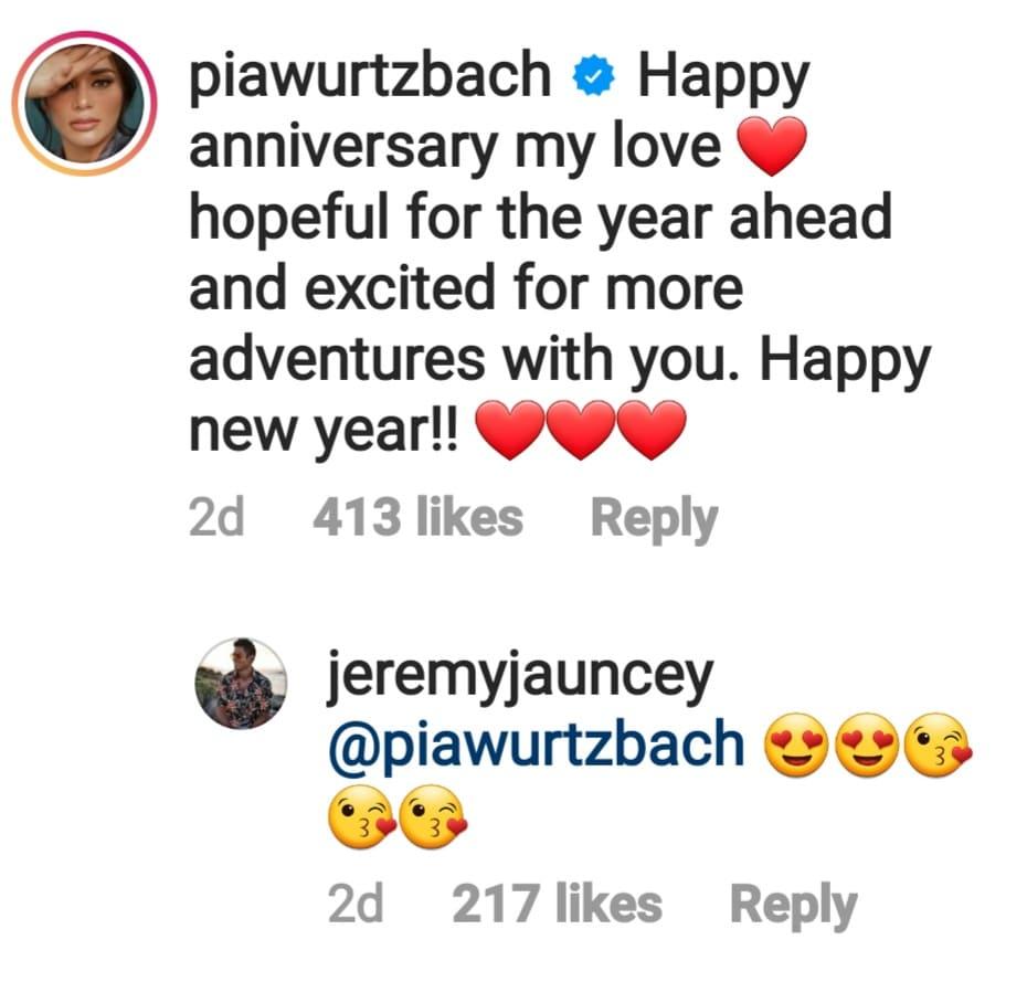 Pia Wurtzbach IG post for boyfriend, Jeremy replies with heart emojis