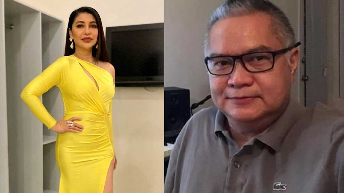 Lani Misalucha in yellow dress. Jimmy Borja mid-shot.
