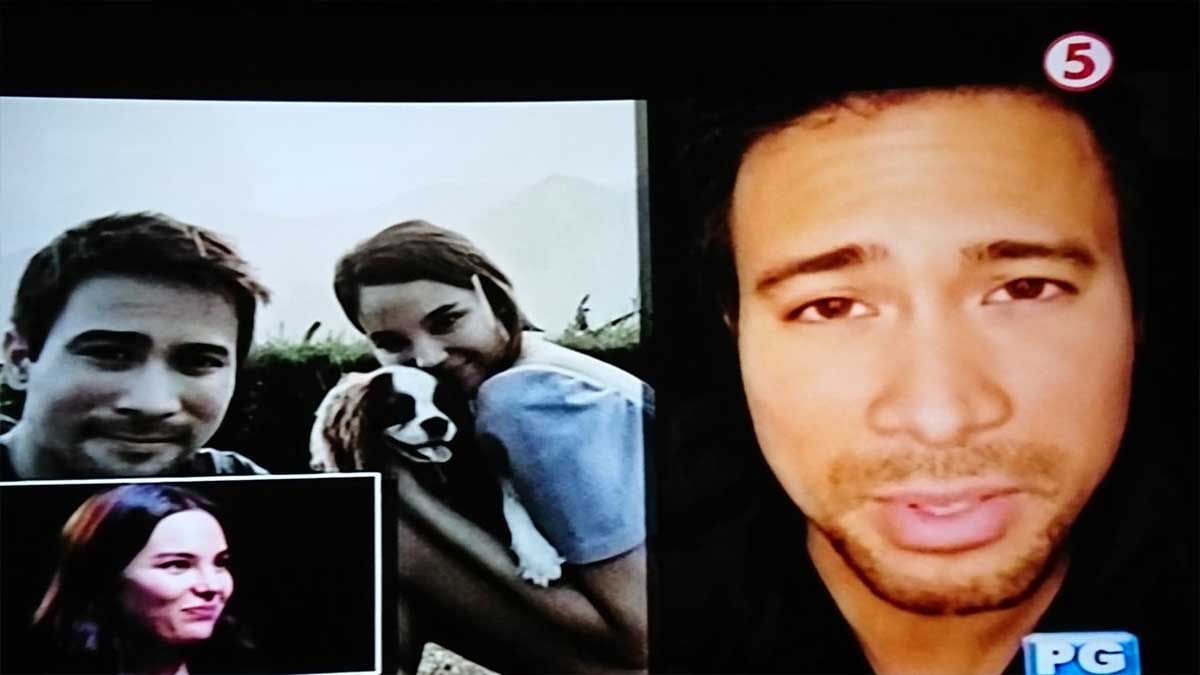 Sam Milby greets girlfriend Catriona Gray on Sunday Noontime Live.