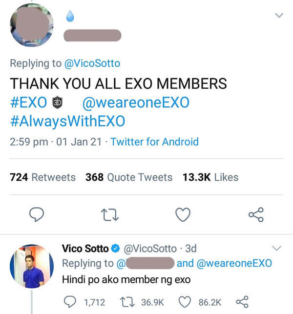 netizens post resemblance of vico sotto to exo member doh kyungsoo, vico reacts