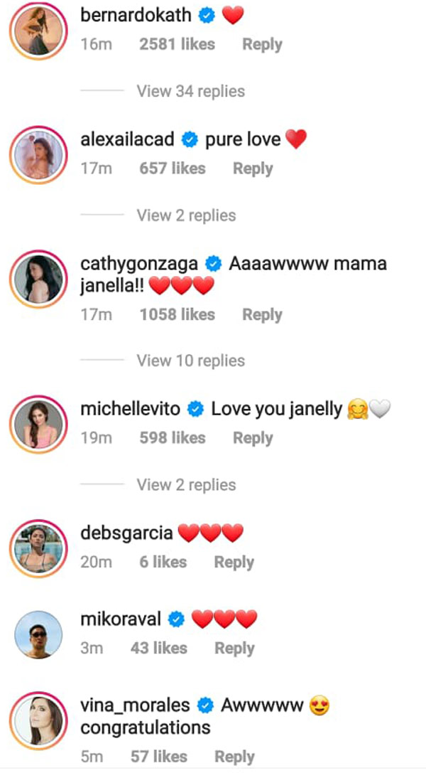 janella salvador celebrity friends including kathryn bernardo and alex gonzaga comments on her instagram post