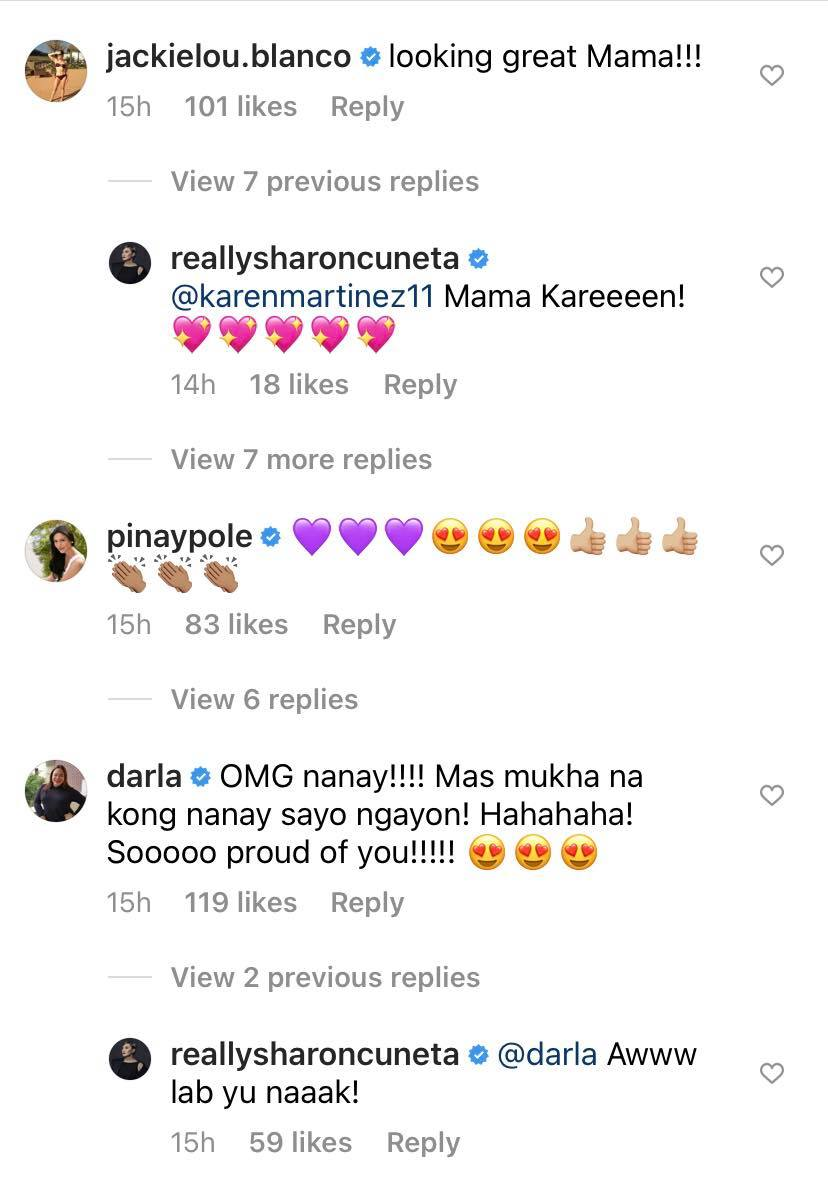 more celebrities comment on sharon cuneta instagram photo