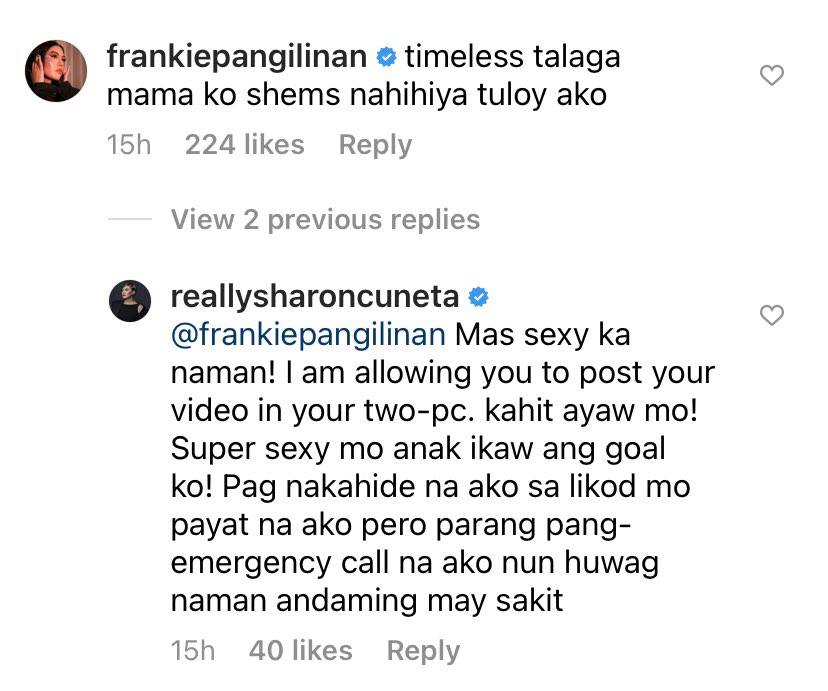 daughter frankie comment on sharon cuneta ig post
