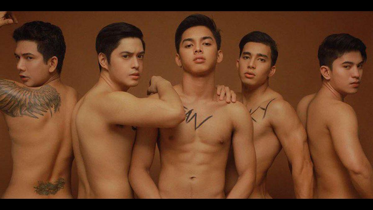 Miko Pasamonte, Charles Nathan, Sean de Guzman, Ricky Gumera, and Mhack Morales posed topless