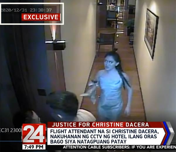 screengrab from CCTV footage of Christine Dacera
