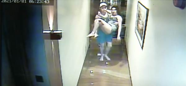 CCTV footage showing Valentine carrying christine dacera