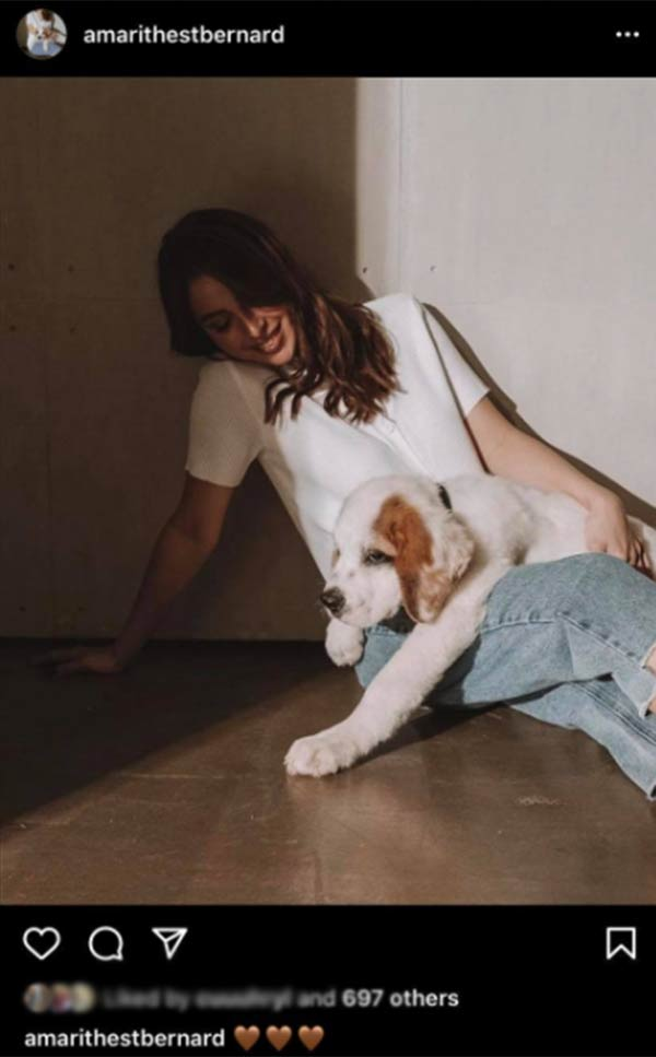 instagram: julia posts picture with puppy