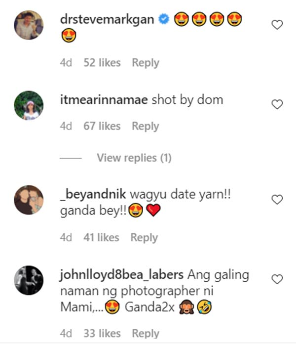 instagram comment: netizens decode bea wagyu date