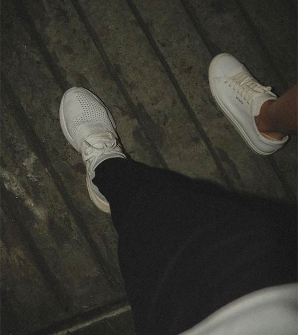 instagram: dominic white sneakers with mysterious girl