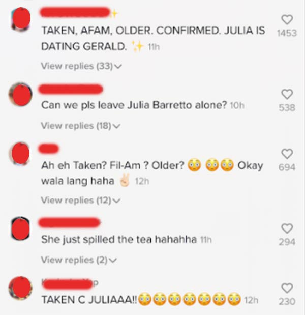 tiktok comment: netizens investigate if julia is pertaining to gerald anderson