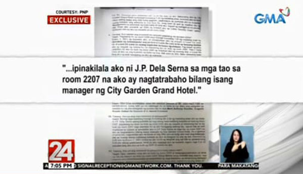 John Paul Halili sworn statement Christince Dacera case