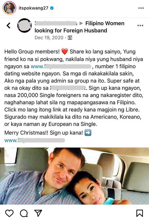 instagram photo: pokwang denies rumors that she met husband in dating site