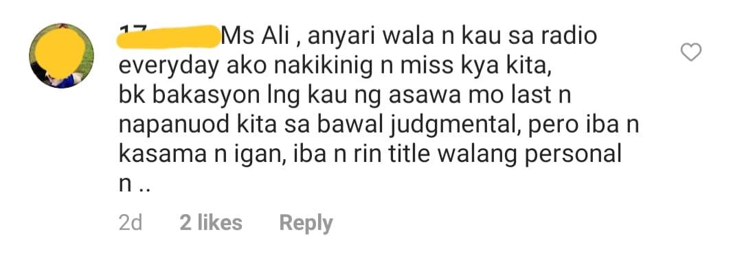 netizens ask about ali comeback