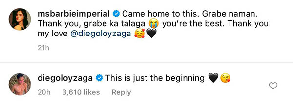 barbie imperial message on diego surprise; diego replies