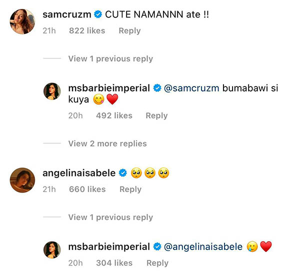 diego sisters angelina and sam comment on barbie's post