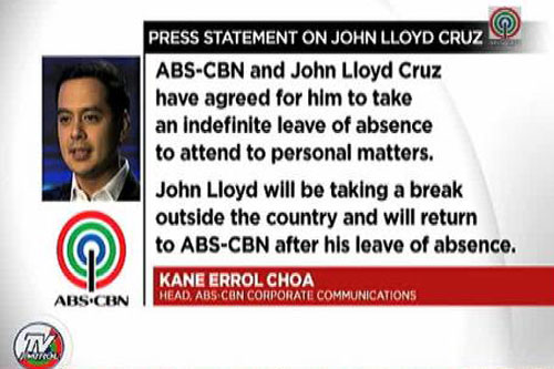 john lloyd cruz indefinite leave of absence