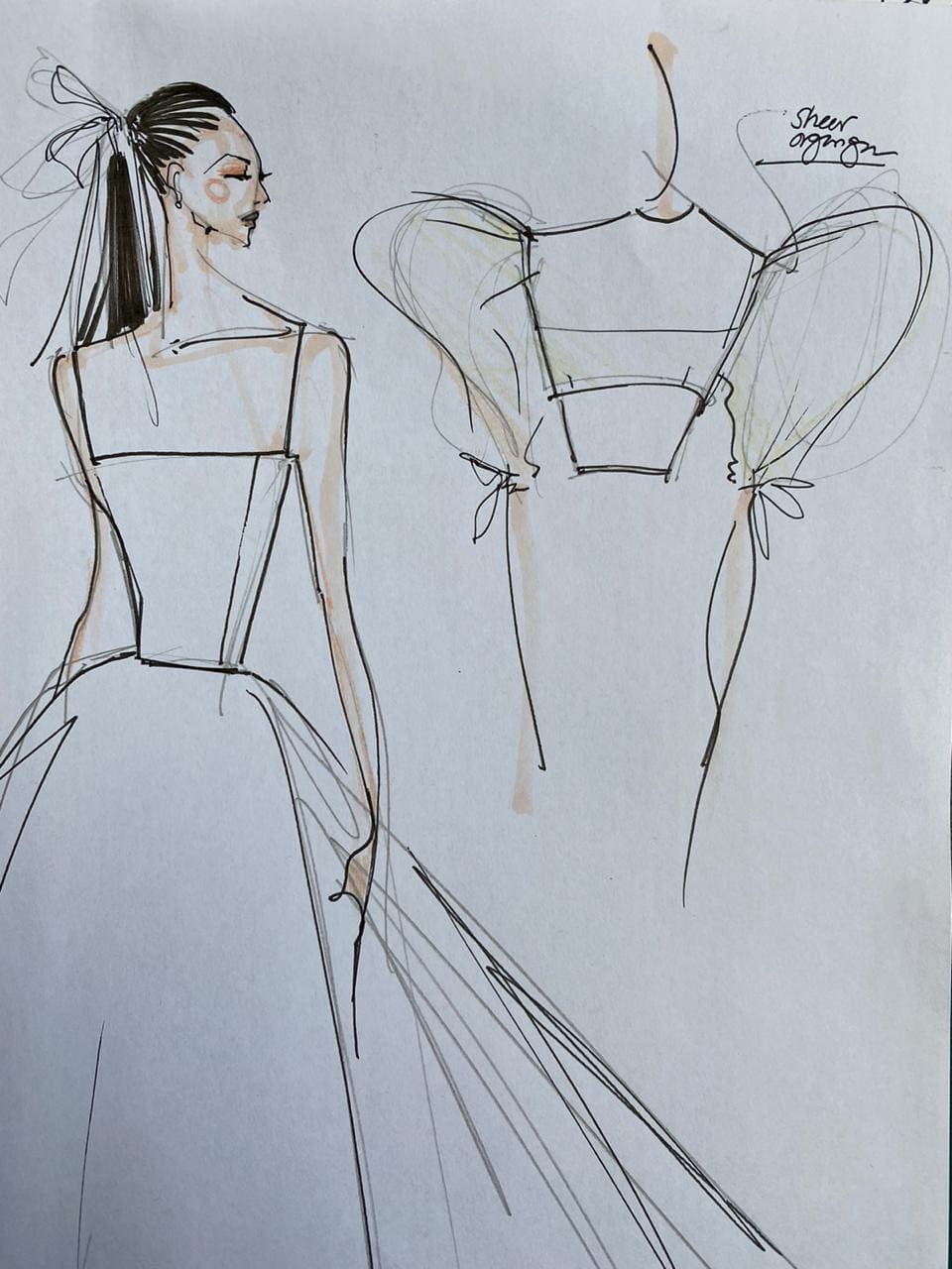 Cath Sobrevega sketch of alex gonzaga wedding gown