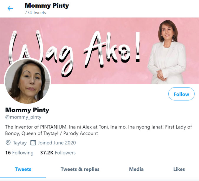 Mommy Pinty Parody Twitter account