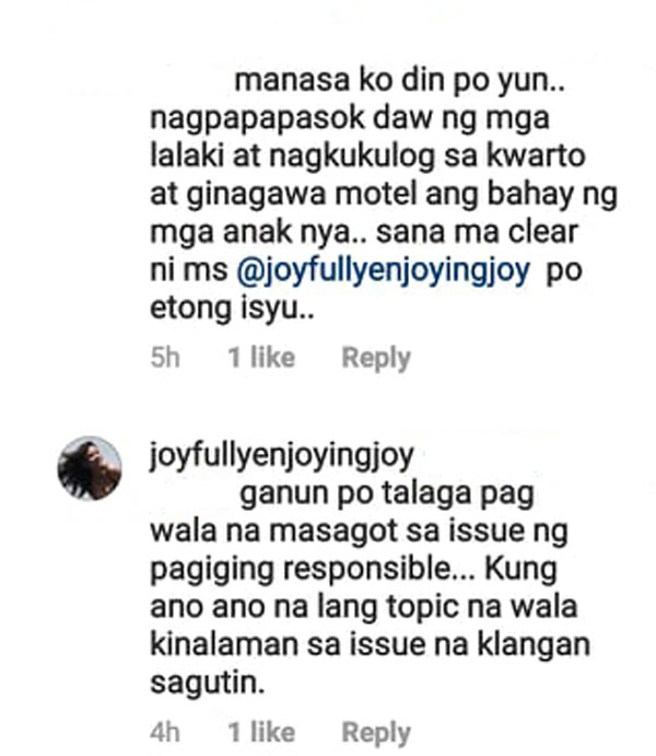 Joy Reyes reply on a netizen about the issue