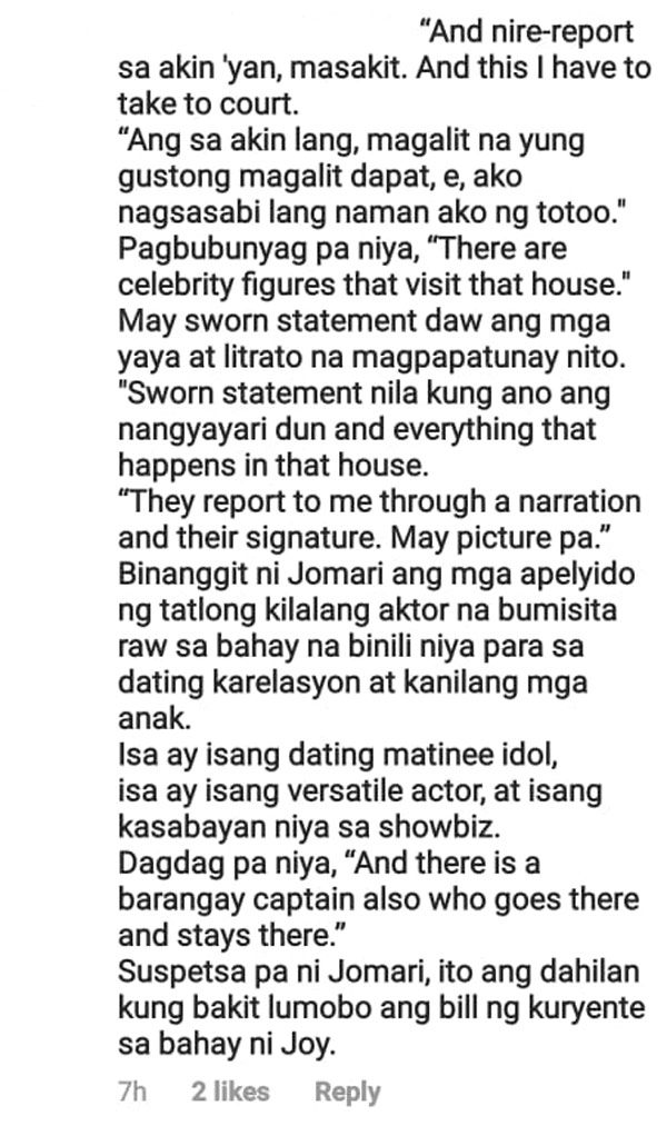 netizen post a line from pep.ph report on Jomari Yllana allegations