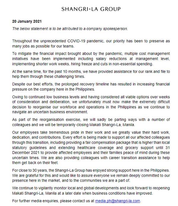 Shangri-La Group Full Statement on the temporary closure