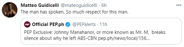 Matteo Guidicelli retweets pep.ph article, shows respect to Mr. M
