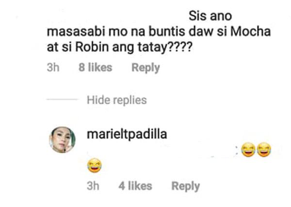 mariel rodriguez commens 3 laughing emojis on mocha pregnancy rumor comment of netizen