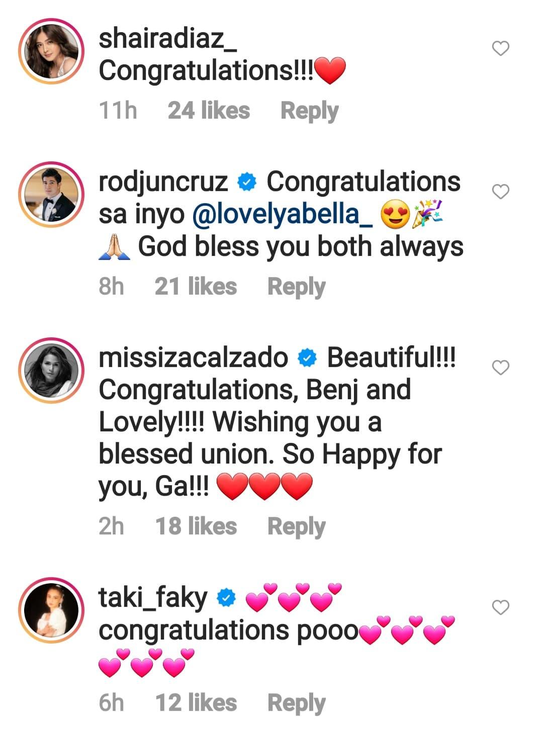 celebrity friends congratulates newly weds