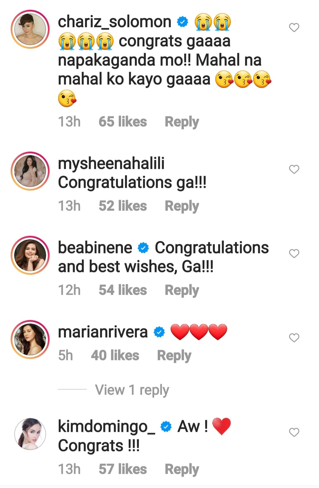 celebrity friends congratulates to lovely and benj