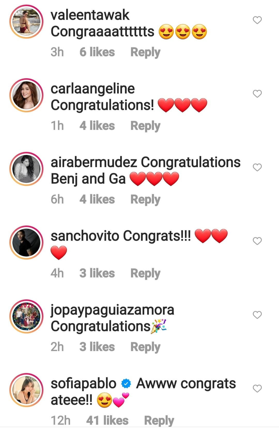 celebrity friends fill benj post their cogratulatory messages