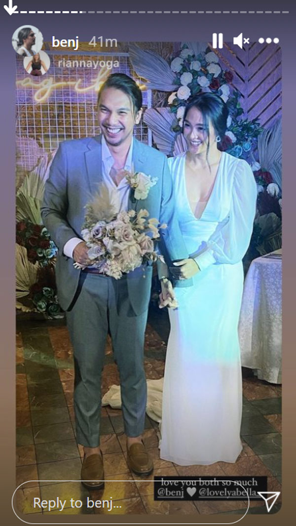 benj manalo post wedding photo in ig story