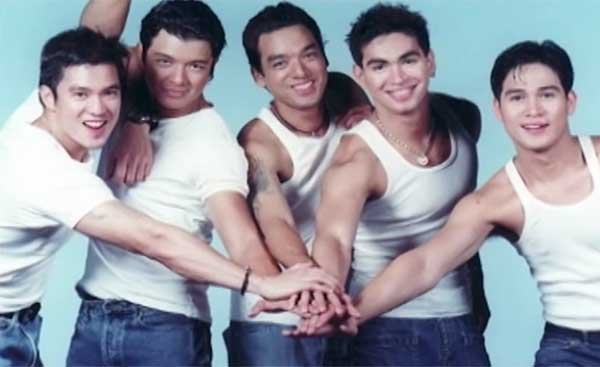 The Hunks: Diether Ocampo, Jericho Rosales, Bernard Palanca, Carlos Agassi, and Piolo Pascual