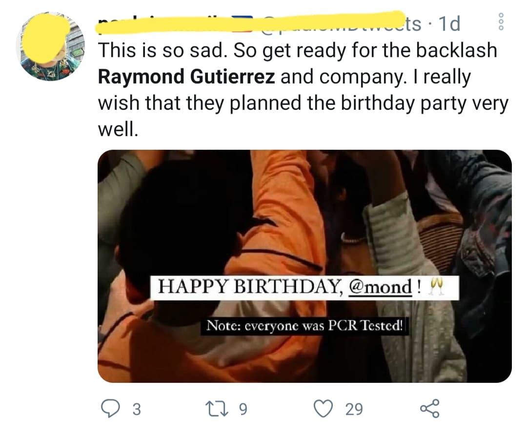 netizen shows disappointment towards raymond
