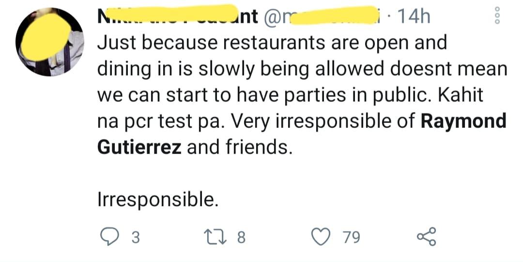 netizen calls raymon gutierrez irresponsible