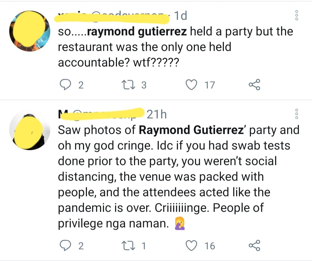 netizen calls out raymond gutierrez as privileged