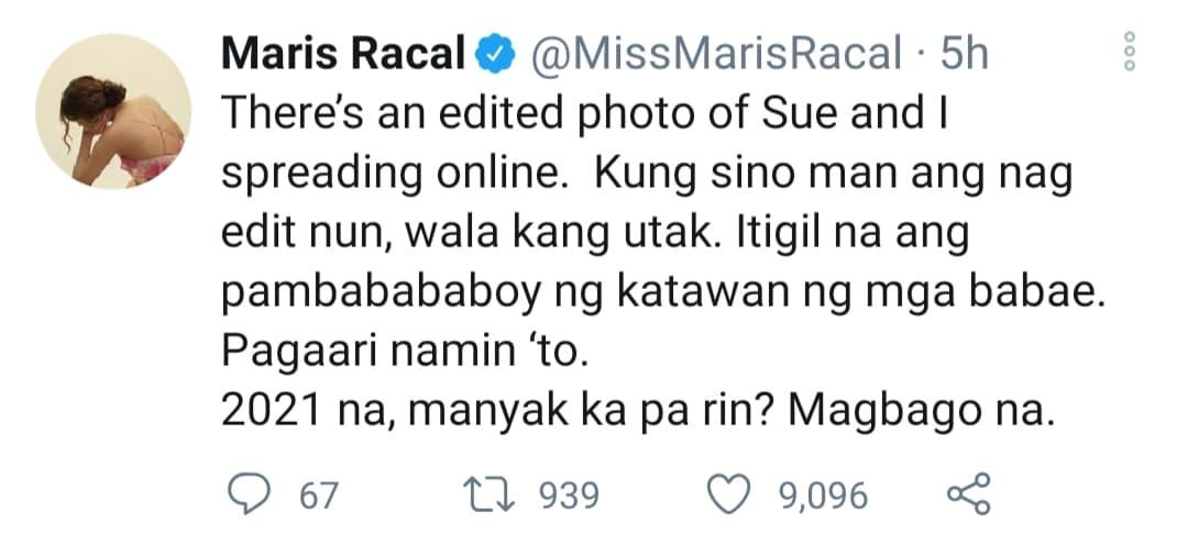 Maris Racal tweet on fake nude photos with Sue Ramirez