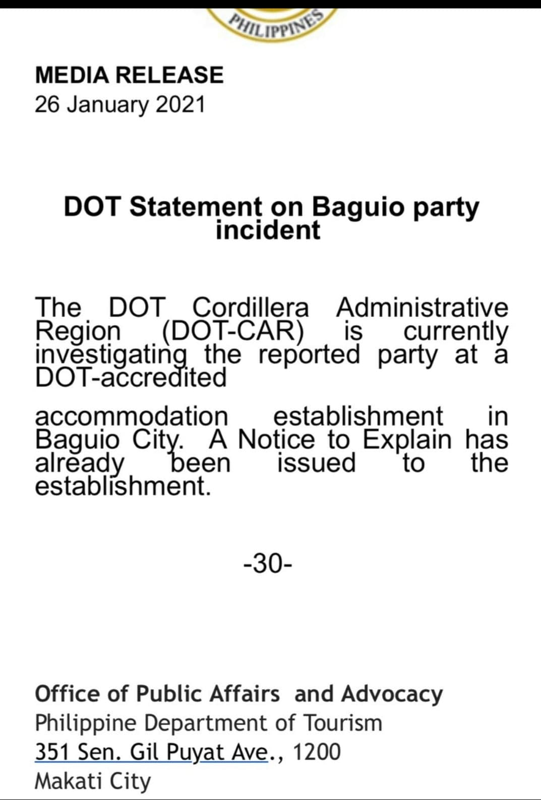 DOT statement on Tim Yap's Baguio Party incident
