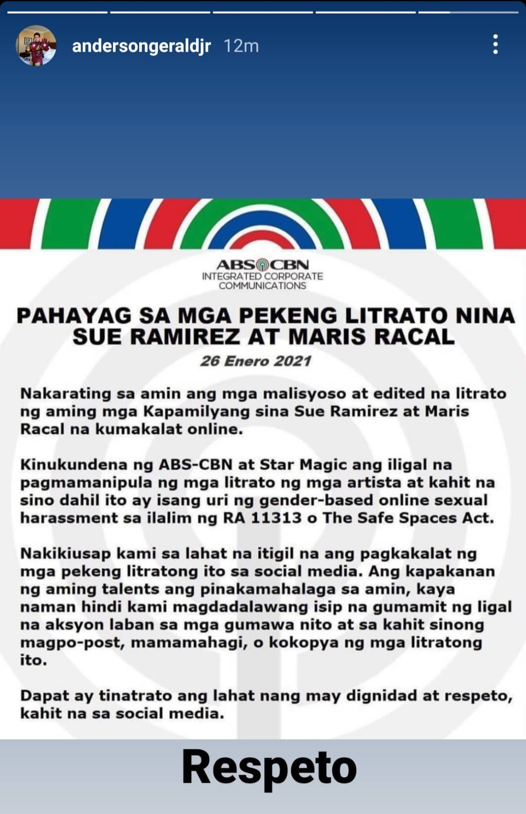 gerald anderson reposted abs-cbn official statement on sue and maris fake nude photos with the caption respeto