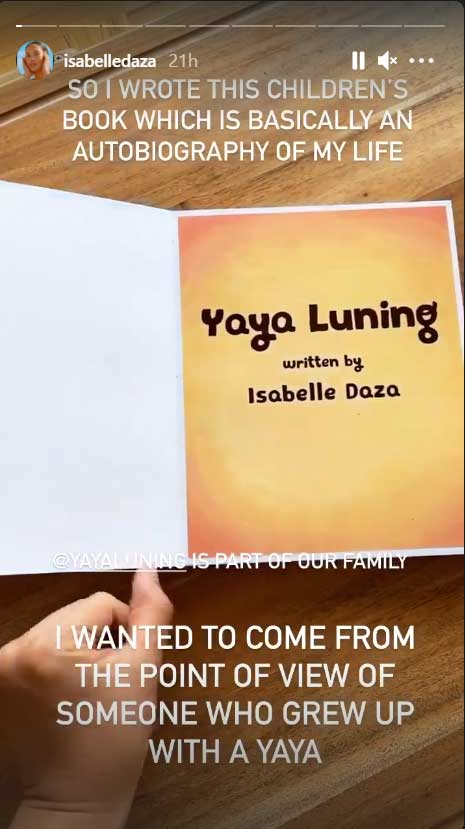 Isabelle Daza IG post about her story for Yaya Luning