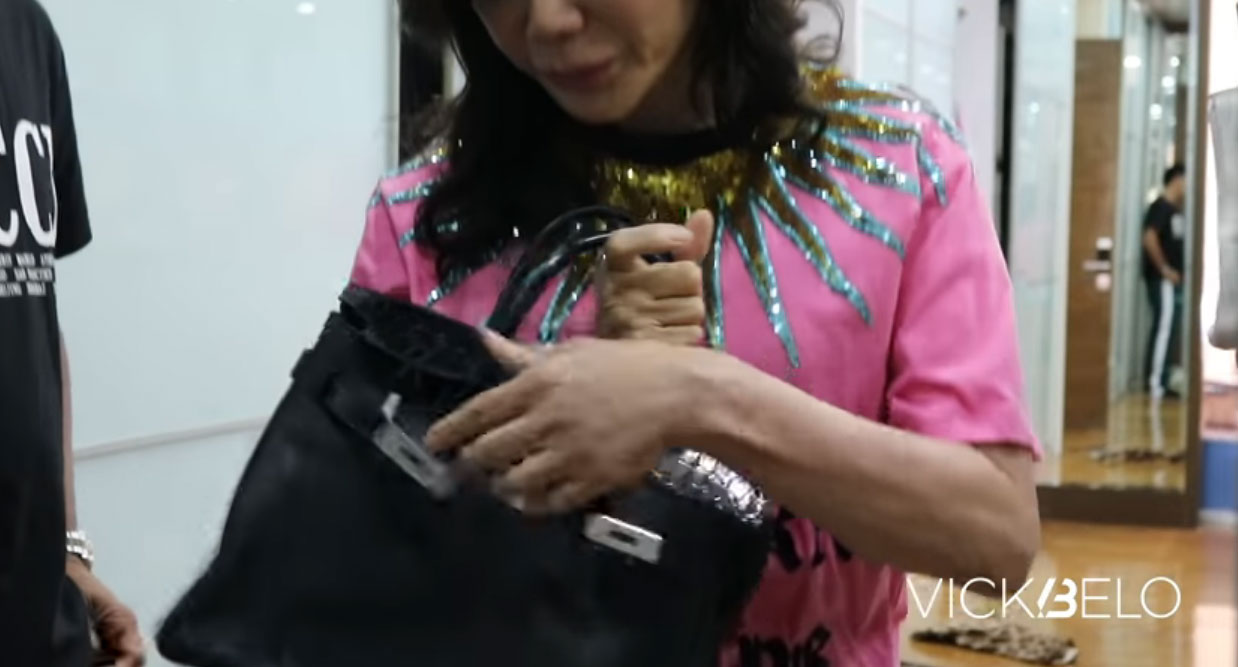 youtube screengrab: Vicki Belo hermes birkin touch bag