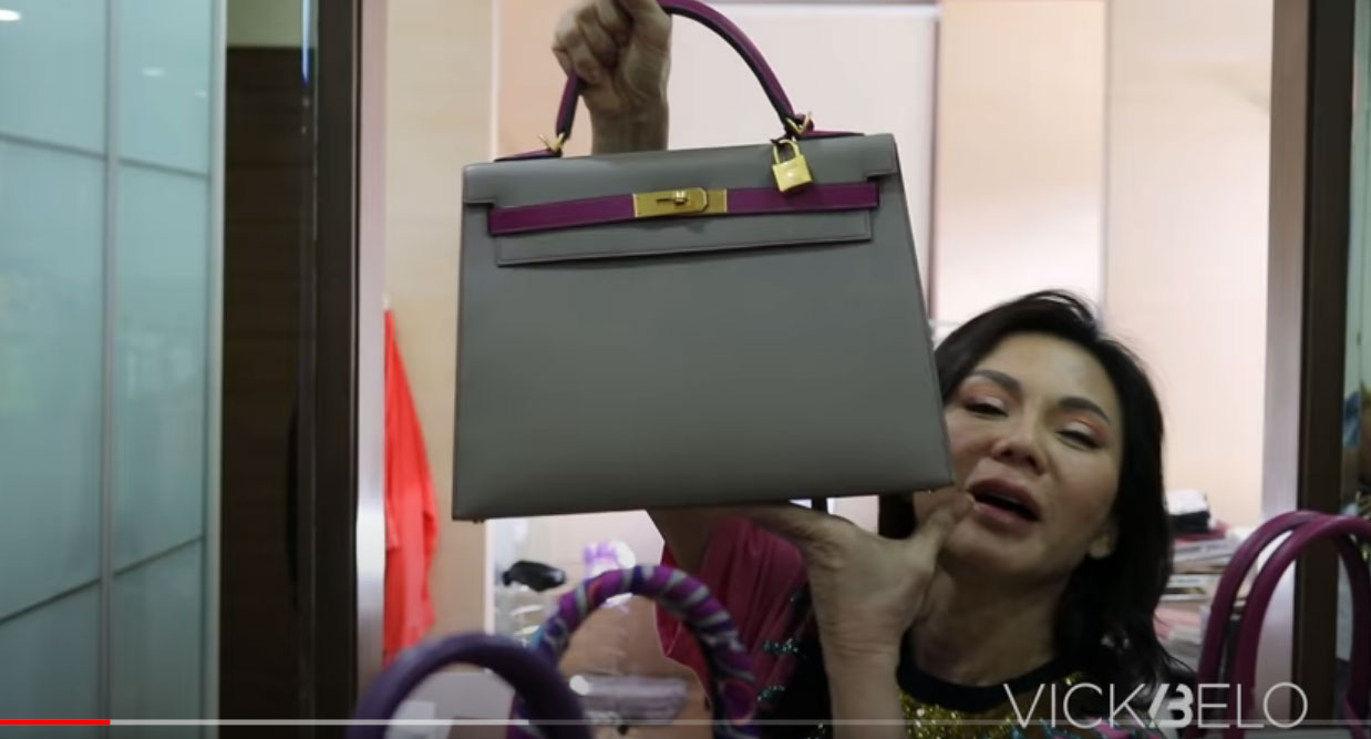youtube screengrab: Vicki Belo Hermes matte bag