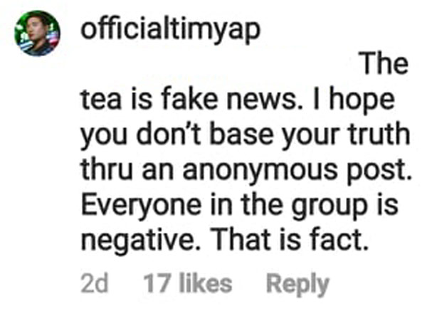 tim yap replied; insists that all attendees tested negative of covid-19