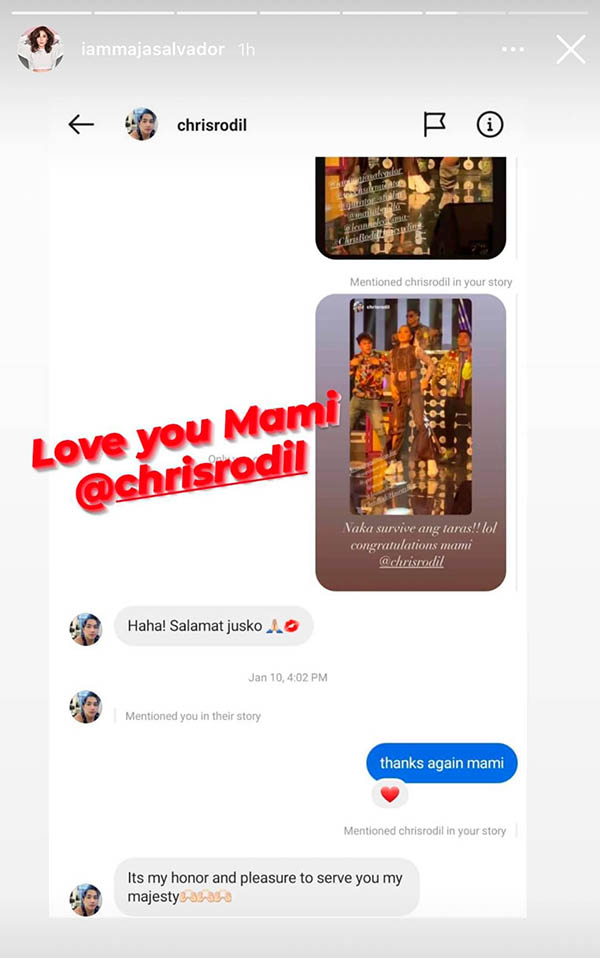Maja posts convo with chris rodil