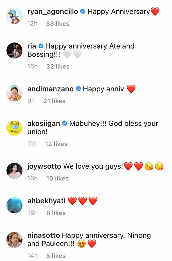 instagram comment of ryan agoncillo, ria atayde, andi manzano, arnold clavio