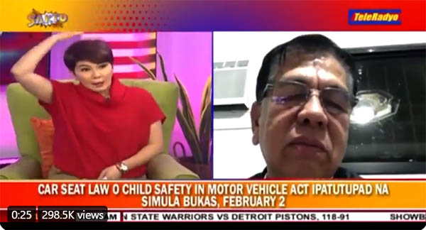 amy perez, Clarence Guinto, child car seat law discussion in Teleradyo
