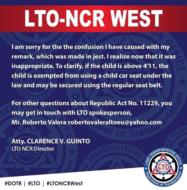 official statement from clarence guinto